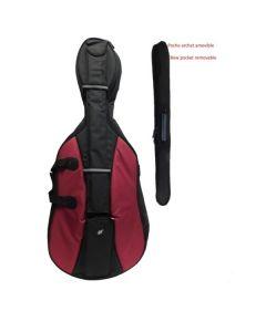 Borsa per violoncello 4/4 Bordeaux / nero con astuccio archetto estraibile